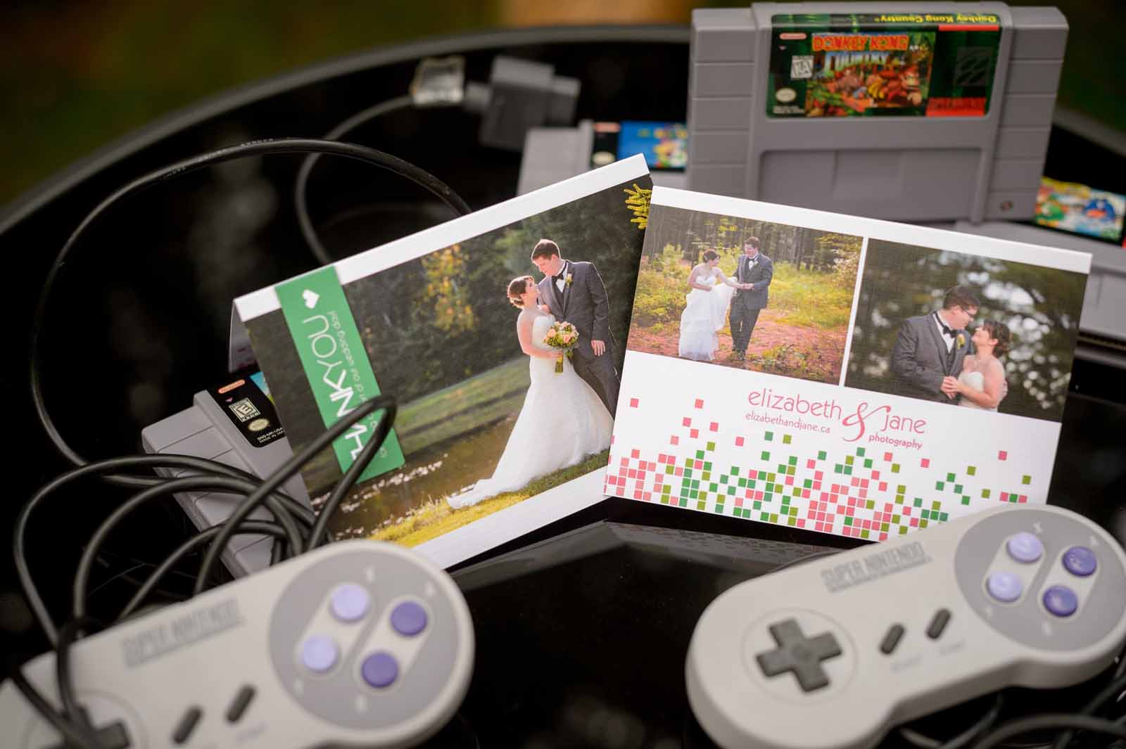 Custom Wedding thank you cards with a video game theme