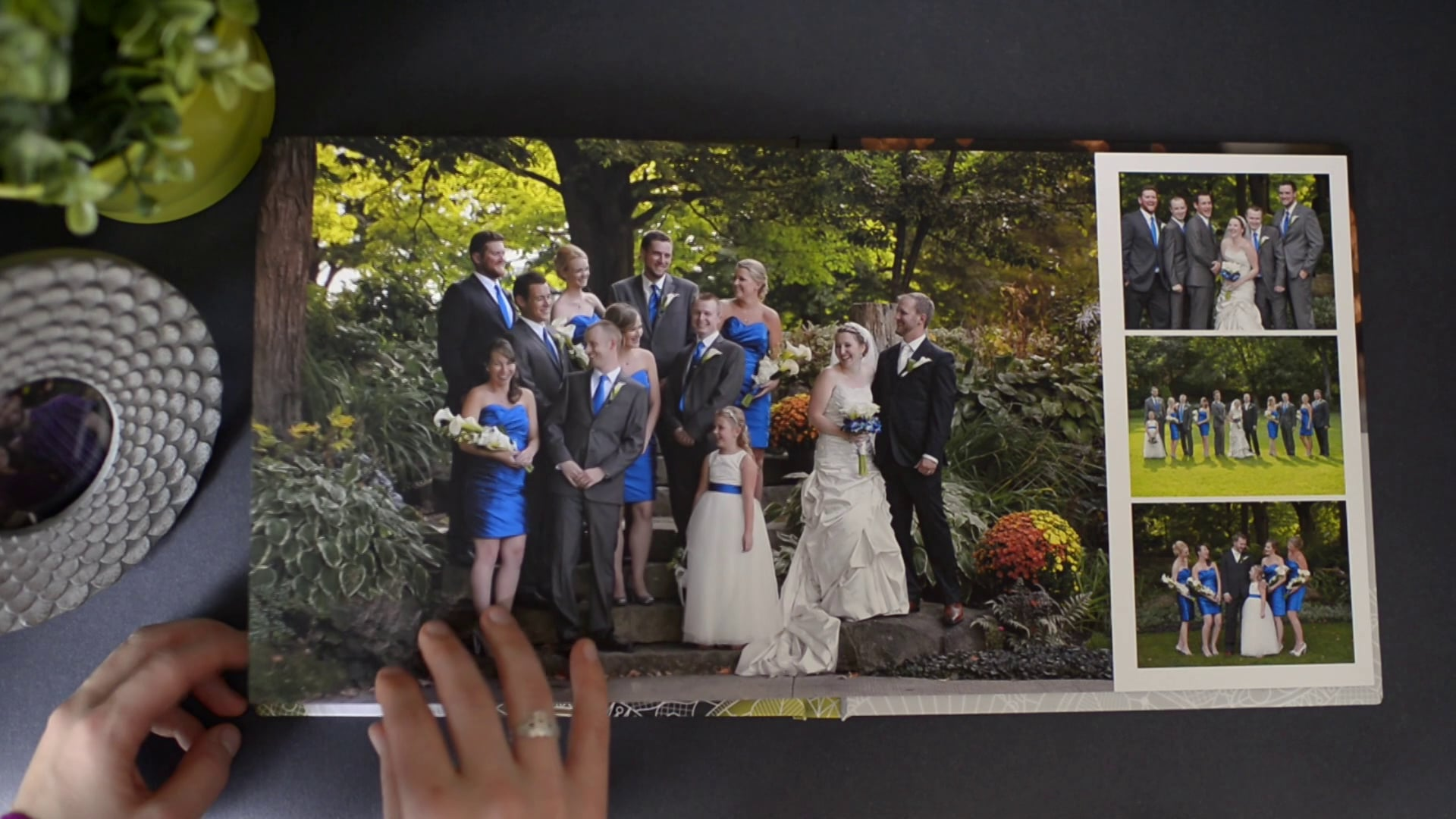 Press to watch a full wedding album flip-through